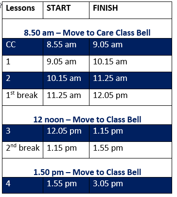 Bell times 2019